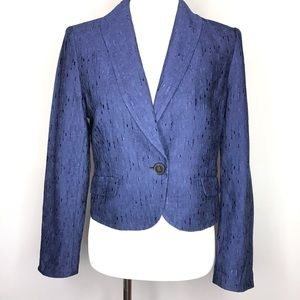 Lafayette 148 Cropped Blue Textured Blazer Jacket